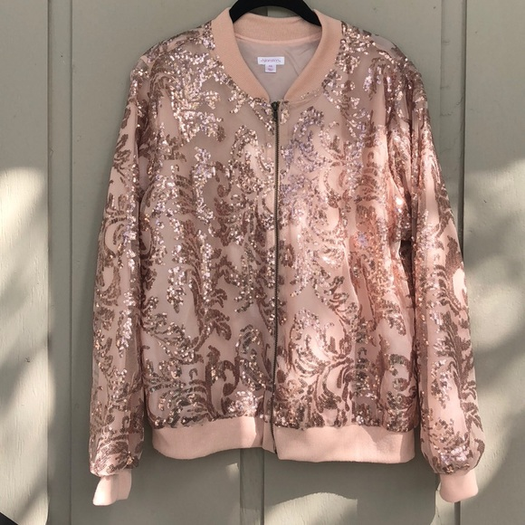 d44816b95259e Rose gold sequin sparkle satin bomber jacket. M 5ac94a2161ca100c7df59112